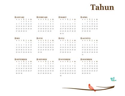 Kalender tahunan 2018 (Sen-Min)