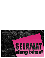 Kartu ulang tahun, latar belakang goresan (merah muda, hitam, dilipat jadi dua)