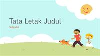 Desain presentasi pendidikan anak-anak yang bermain (ilustrasi kartun, layar lebar)