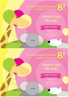 Kartu undangan pesta ulang tahun (desain anak-anak, 2 kartu dalam 1 halaman)
