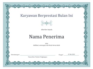 Sertifikat untuk Karyawan dalam sebulan (desain biru rantai)