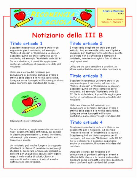 Notiziario di classe (2 colori, 2 pagine)