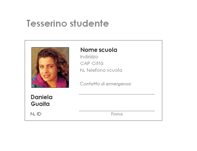 Tesserino di identificazione dello studente