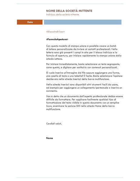 Lettera con stampa unione (tema Luna)