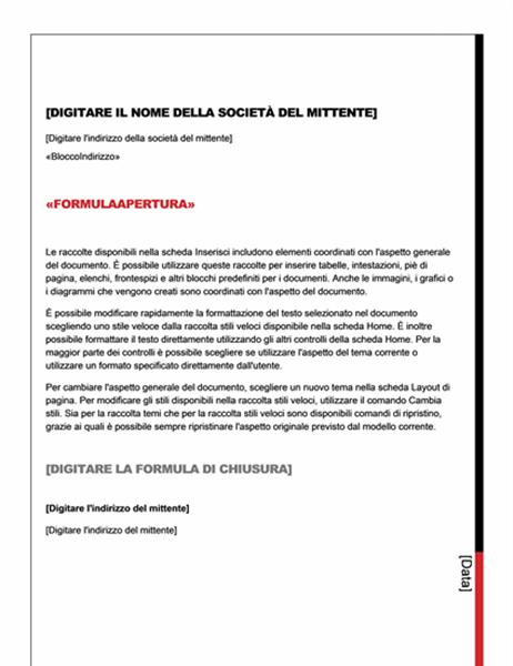 Lettera per stampa unione (schema Essenziale)