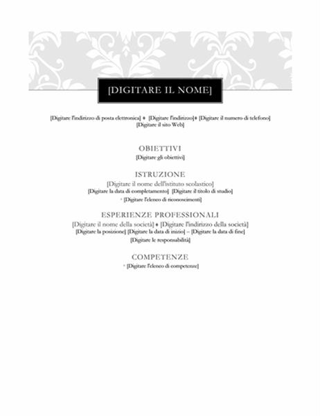 Curriculum (schema Cravatta nera)