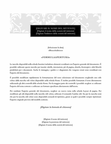 Lettera per stampa unione (schema Cravatta nera)
