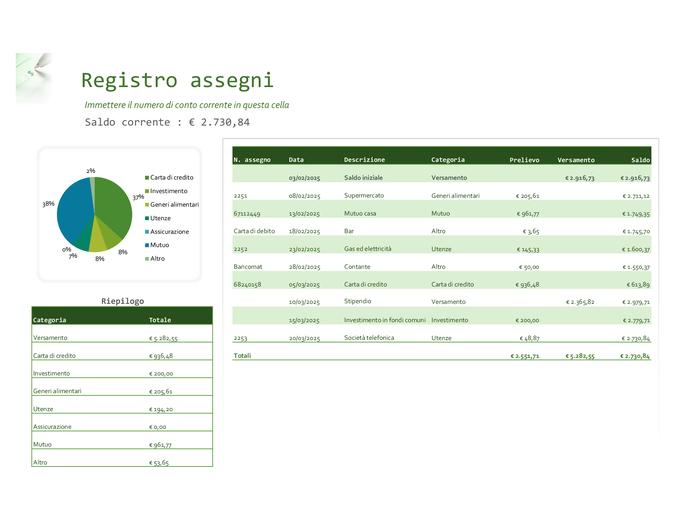 Registro assegni con grafico