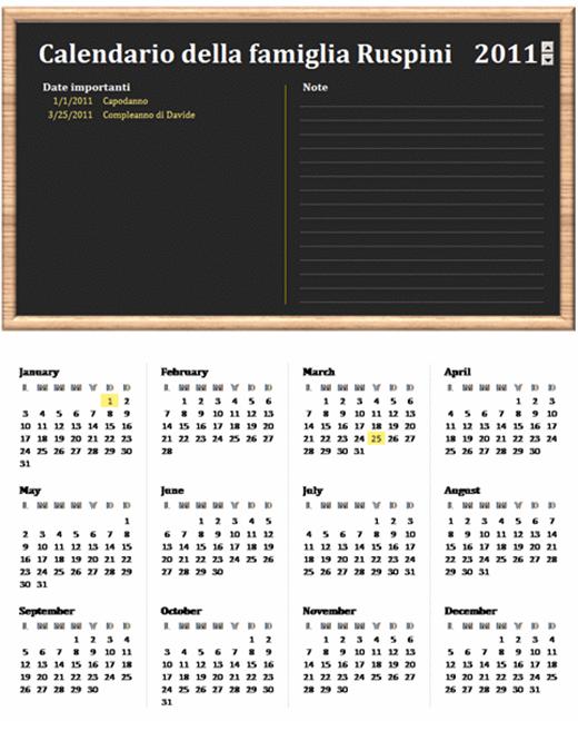 Calendario per la famiglia (qualsiasi anno, lun-dom)
