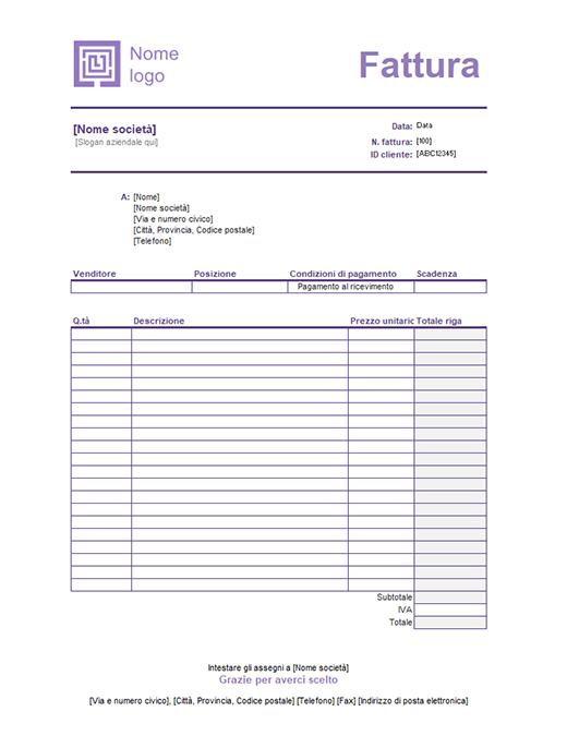 Fattura di servizio (schema Linee semplici)