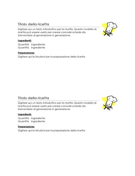 Schede di ricette (2 per pagina)