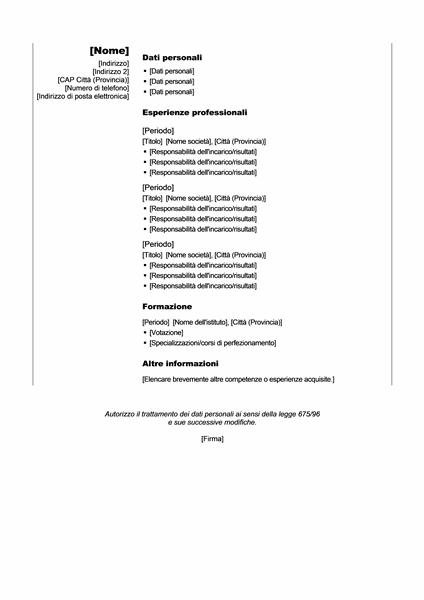 Curriculum cronologico (tema Verticale)