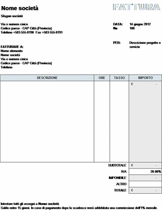 Fattura servizi con calcolo IVA
