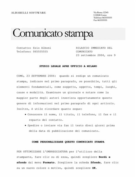 Comunicato stampa (tema elegante)