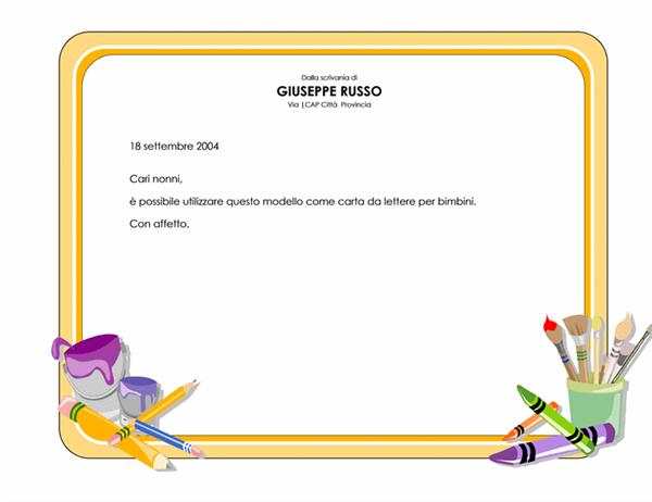 Carta intestata per bambini