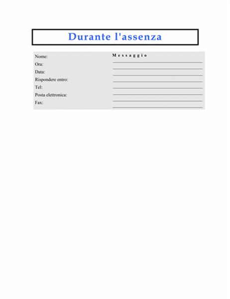 Messaggio durante l'assenza (uso singolo)
