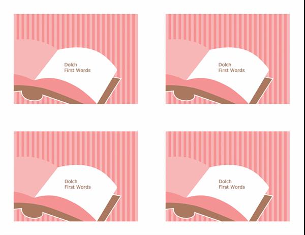 Cartoline didattiche per l'insegnamento della lingua inglese (Dolch First Sight Words; lato posteriore; adatte ad Avery 3263, 8387)