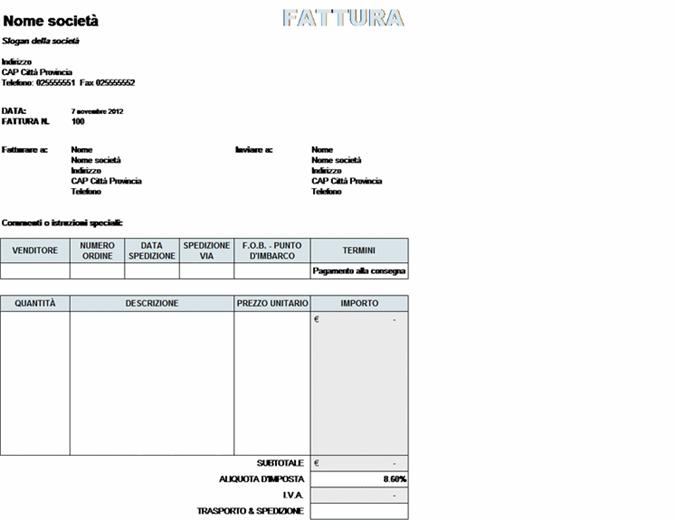 Fattura di vendita con calcoli per imposte e spese di trasporto e spedizione
