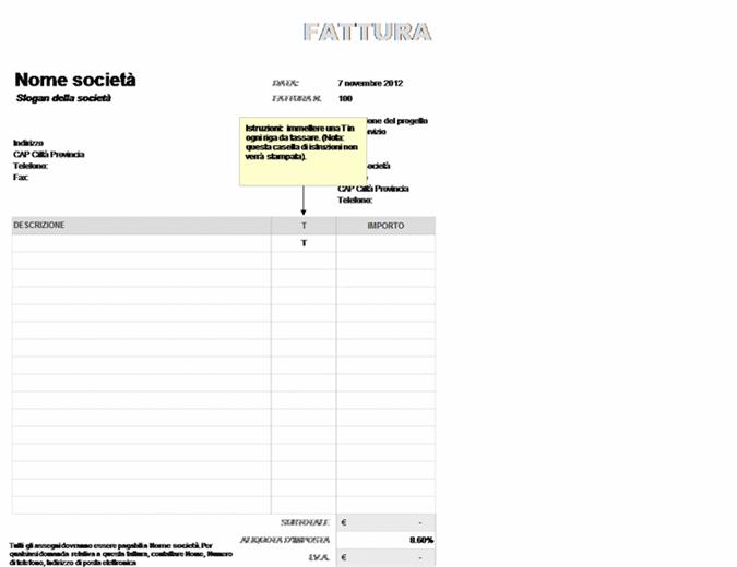 Fattura con IVA applicata parzialmente