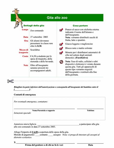 Autorizzazione genitori per gita scolastica