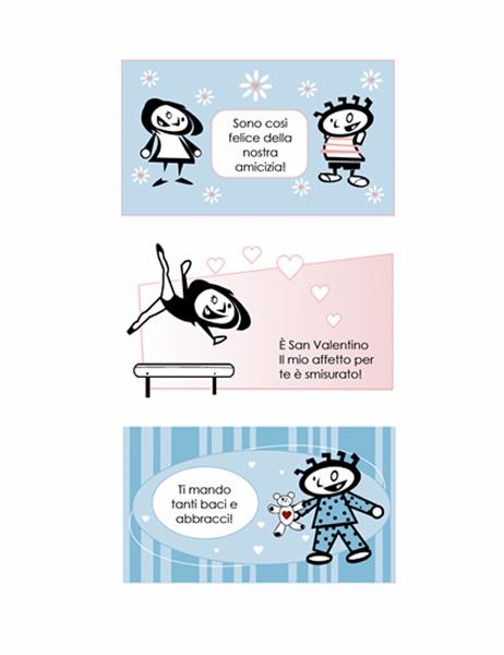 Auguri di San Valentino personalizzati per bambini (4 pagine di schemi di biglietto e 1 pagina posteriore universale)