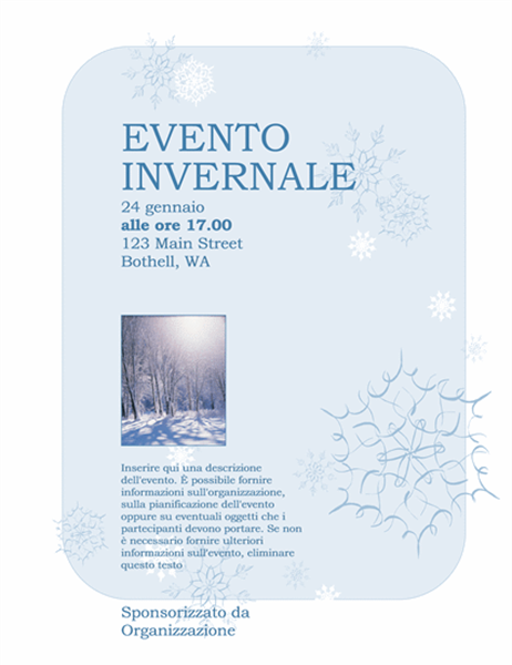 Volantino per evento invernale