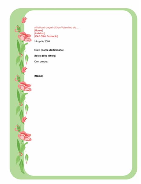 Modello lettera per San Valentino