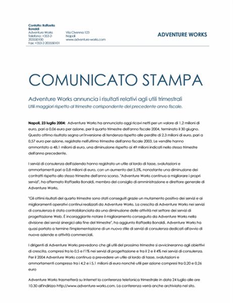 Comunicato stampa sugli utili trimestrali
