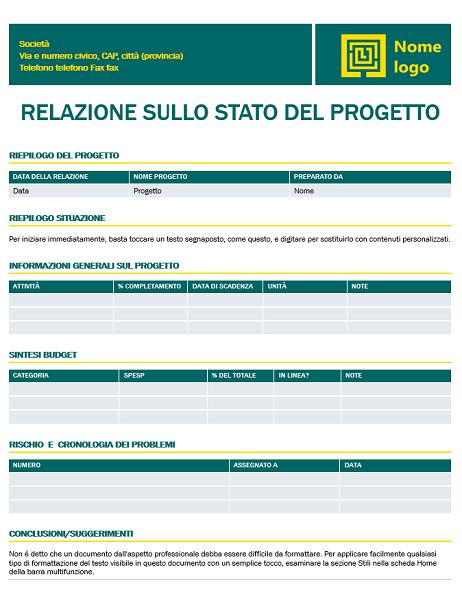 Relazione sullo stato del progetto (schema Senza tempo)