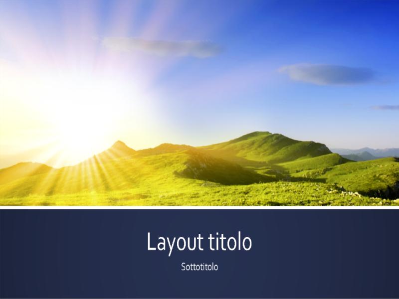 Presentazione a strisce blu con foto di un'alba in montagna (widescreen)