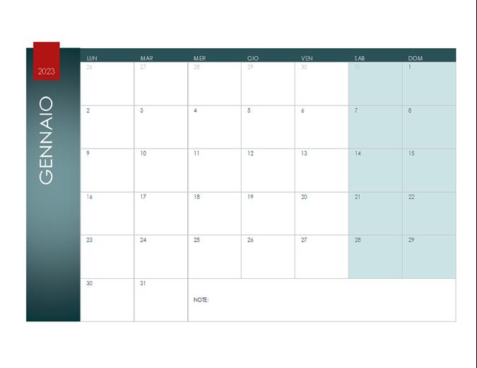 Calendario per qualsiasi anno (tema Ione)
