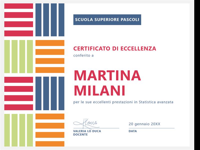 Certificato di eccellenza per studenti