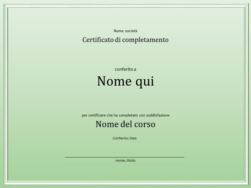 Certificato di completamento del corso