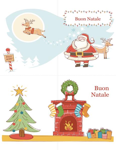 Biglietti d'auguri natalizi (schema Spirito del Natale, 2 per pagina)