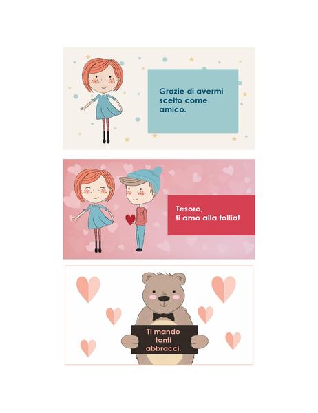 Auguri di S. Valentino per ragazzi (12 modelli, 3 per pagina)
