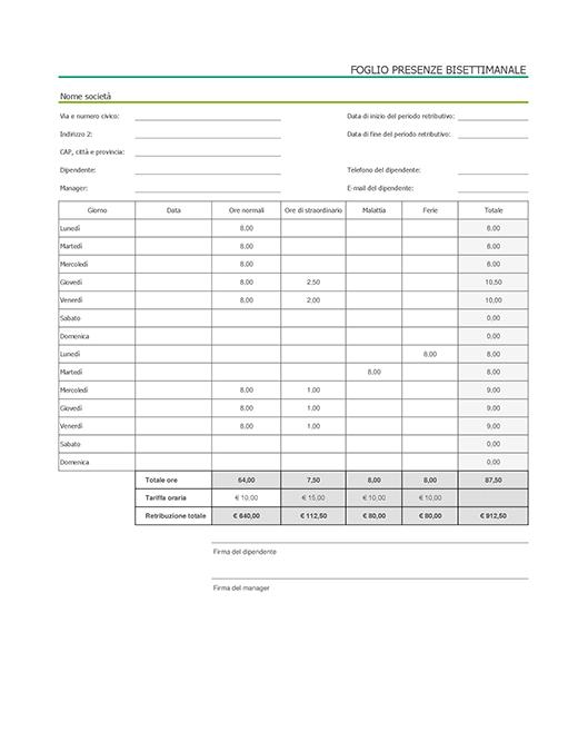 Scheda attività bisettimanale con assenze per malattia e ferie (con dati di esempio)