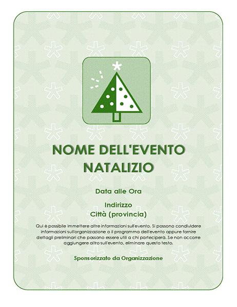Volantino per evento natalizio (con albero verde)