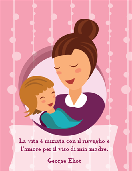 Biglietto Per La Festa Della Mamma Con Mamma E Bambino