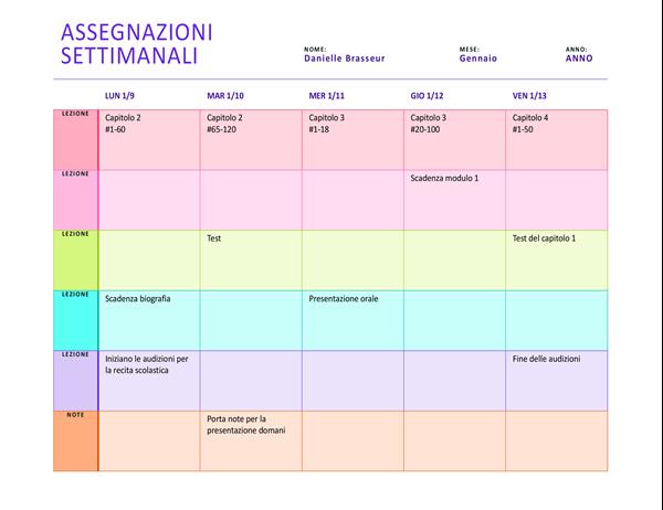 Programma attività settimanali (a colori, orizzontale)