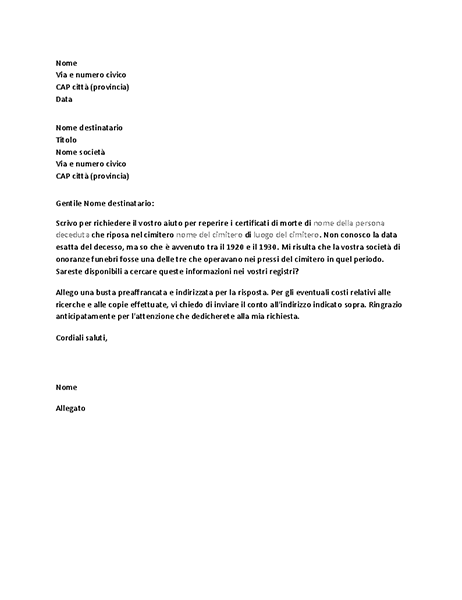 Lettera di richiesta di documenti genealogici a una società di onoranze funebri