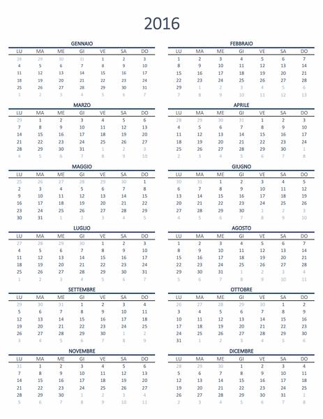 Calendario di un anno