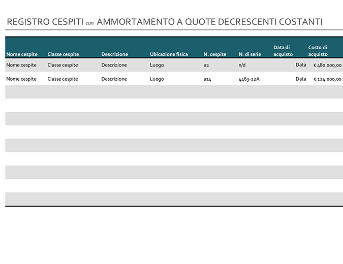 Registro cespiti con ammortamento a quote decrescenti costanti