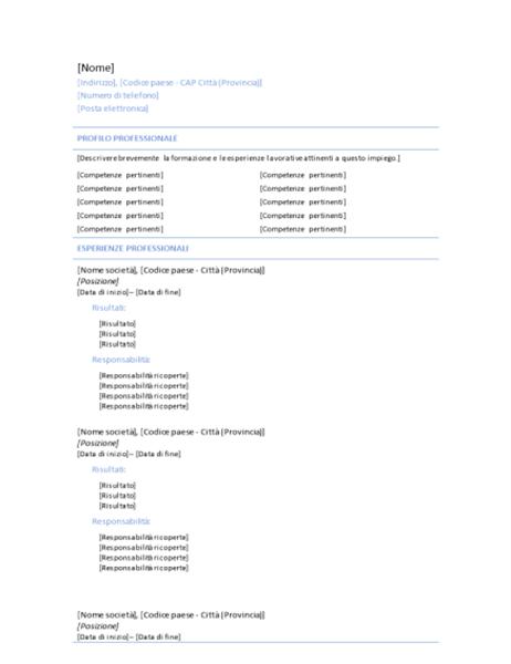 Curriculum cronologico (tema Riga blu)