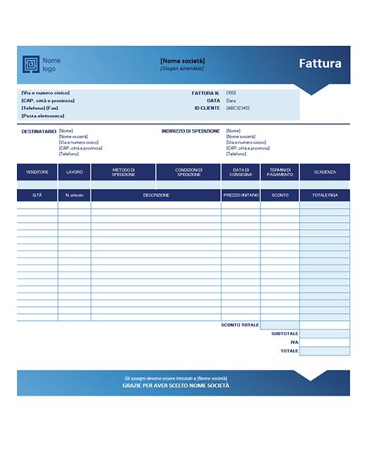 Fattura di vendita (schema Sfumatura di blu)