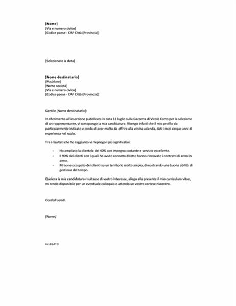 lettera di presentazione per annuncio  breve