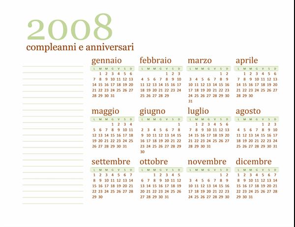 Calendario compleanni e anniversari 2008 (lun-dom)