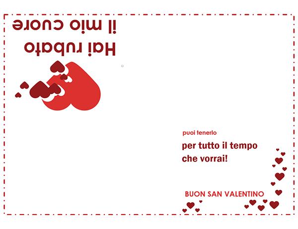 Biglietto di San Valentino (motivo di cuori, piegatura quadrupla)