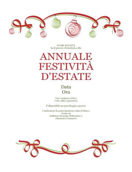 Volantino per festa durante il periodo invernale con decorazioni e fiocco rosso (design formale)