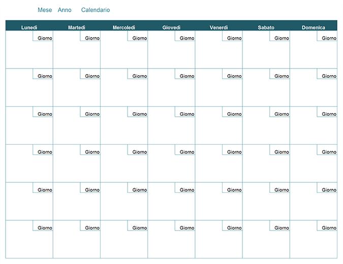 Modello Calendario Word.Calendario Mensile Vuoto