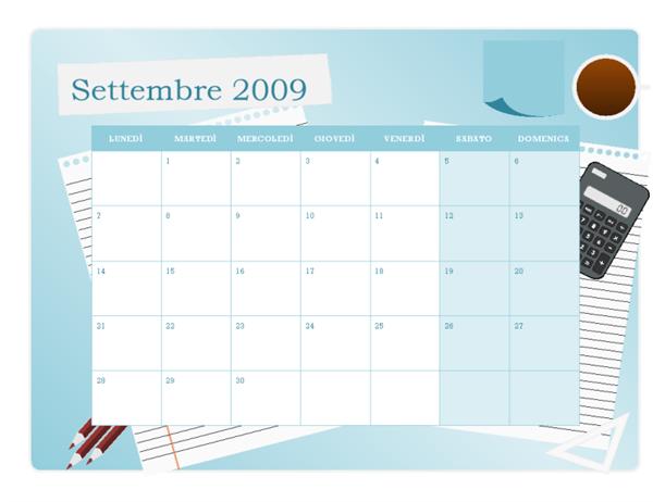 Calendario accademico 2009-2010 (settembre-settembre, lunedì-domenica)